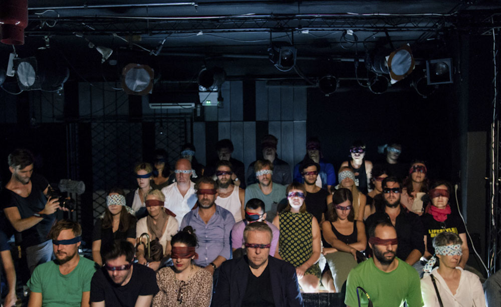 Sound Recordist Scotland in blindfolded audience sound performance in Athens